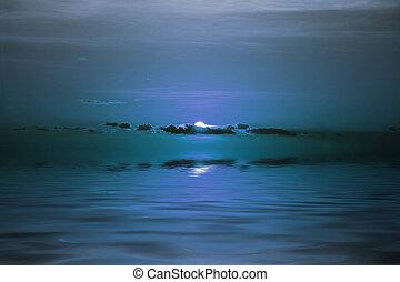 sur, lune, océan