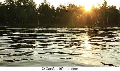 sur, matin, rivière, lac, paysage, levers de soleil