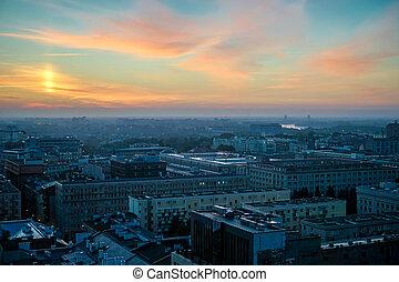 sur, matin, tôt, horizon, vue, varsovie