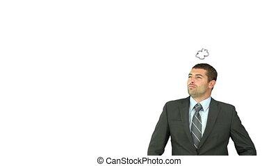 sur, moments, pensée, homme affaires