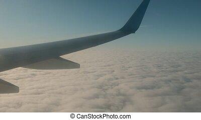 sur, nuages, fenêtre., aile avion, vue