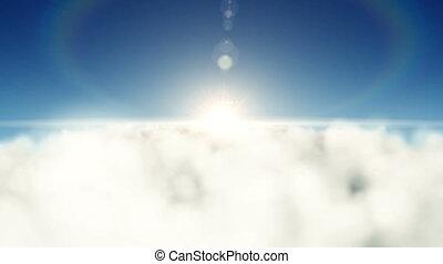 sur, nuages, soleil, arrière, voler