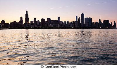 sur, observatoire, coucher soleil, chicago