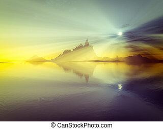 sur, océan coucher soleil