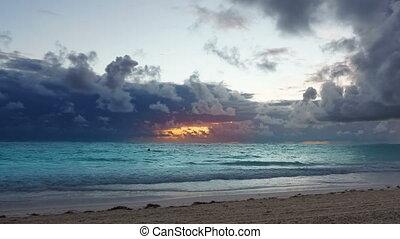 sur, océan, dramatique, coucher soleil, orage, waves.