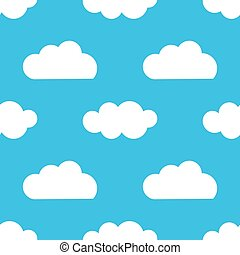 sur, pattern., bleu, seamless, nuages, ciel blanc