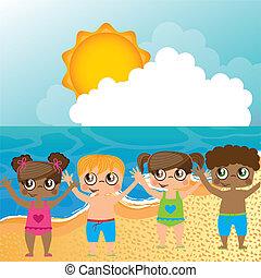 sur, plage, enfants