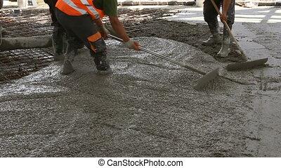 sur, plancher, grand, enduisage, site, béton, ouvriers construction, renforcé