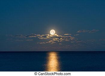 sur, pleine lune, océan