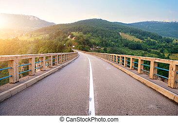 sur, pont, rivière