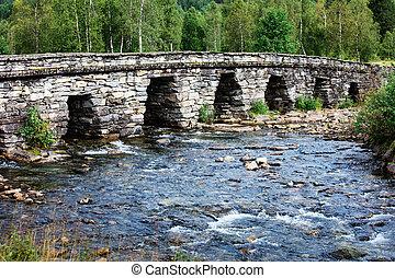 sur, pont, vieux, rivière, beau