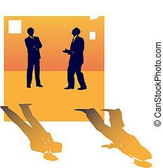 sur, professionnels, deux, conversation, métier, lose., silhouettes