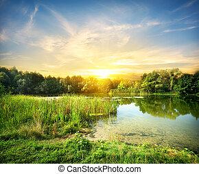 sur, rivière, magique, levers de soleil