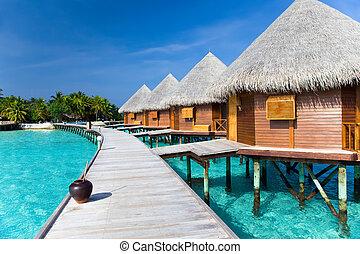 sur, route, bois, océan, maldives.
