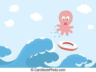 sur, sauter, poulpe, vague océan