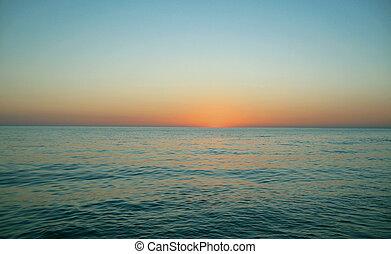 sur, soir, coucher soleil, mer