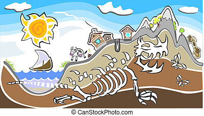 sur, squelette dinosaure, village, géant