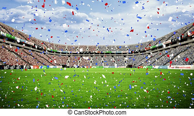 sur, stade, confetti tombant, rugby, animation