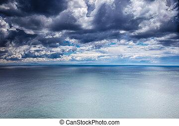sur, temps, mer, couvert