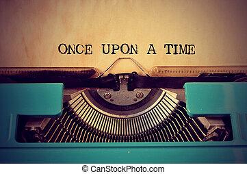sur, texte, machine écrire, temps, retro, autrefois