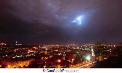 sur, timelapse, yerevan, orage, vidéo, arménie, nuit