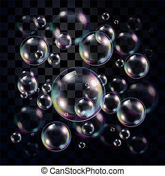 sur, transparent, sombre, bulles, multicolore, savon