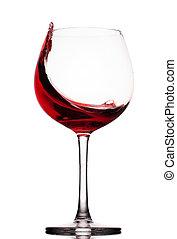 sur, verre, en mouvement, fond, blanc rouge, vin