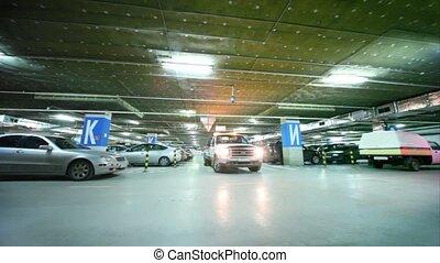 sur, virages, intérieur, garage, wrecker, stationnement, flasher