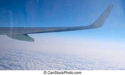 sur, voler, couverture, avion, aile, nuage