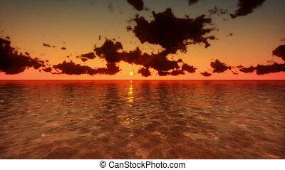 sur, voler, mer, défaillance temps, levers de soleil