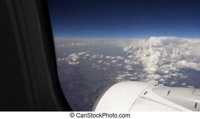 sur, voler, nuages, avion, avion