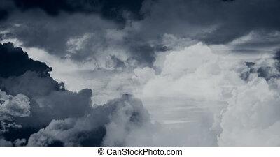 sur, voler, nuages