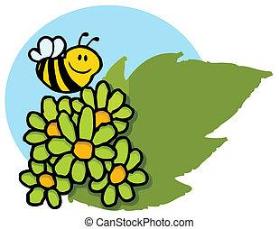 sur, voler, vert, pâquerettes, abeille