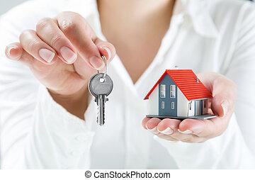 sur, vrai, remettre, clés, agent, propriété