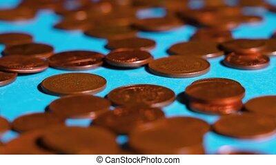 surface, bleu, pièces, cent, peu