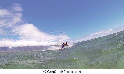 surfer, cerf volant