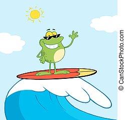 surfer, heureux, mer, grenouille, quoique