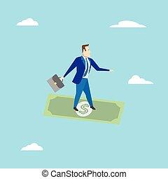surfer, homme affaires, business, concept., vecteur, dollar., illustration.