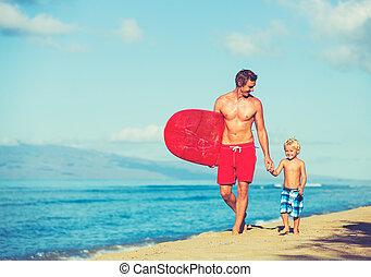 surfer, père, fils