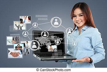 surfer, réseau, femme affaires, ordinateur portable, virtuel, pc, connexion, fond, social, tenue