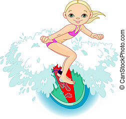 surfeur, action, girl