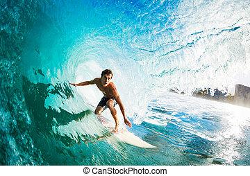 surfeur, gettting, barreled