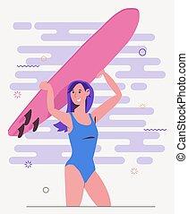 surfeur, girl, swimsuit.