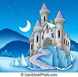 surgelé, château, paysage hiver