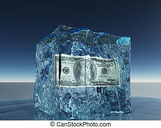 surgelé, note, dollar, glace, cent