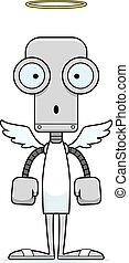 surpris, dessin animé, ange, robot