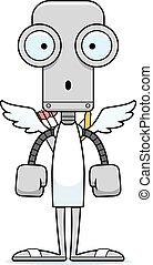 surpris, dessin animé, cupidon, robot