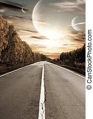 surréaliste, coucher soleil, route
