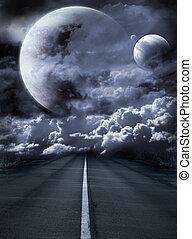 surréaliste, route, galaxie