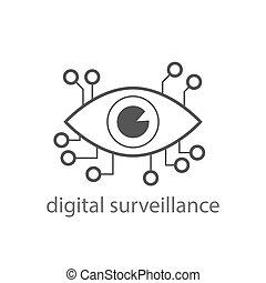 surveillance, 10., signe., eps, icon., oeil, numérique